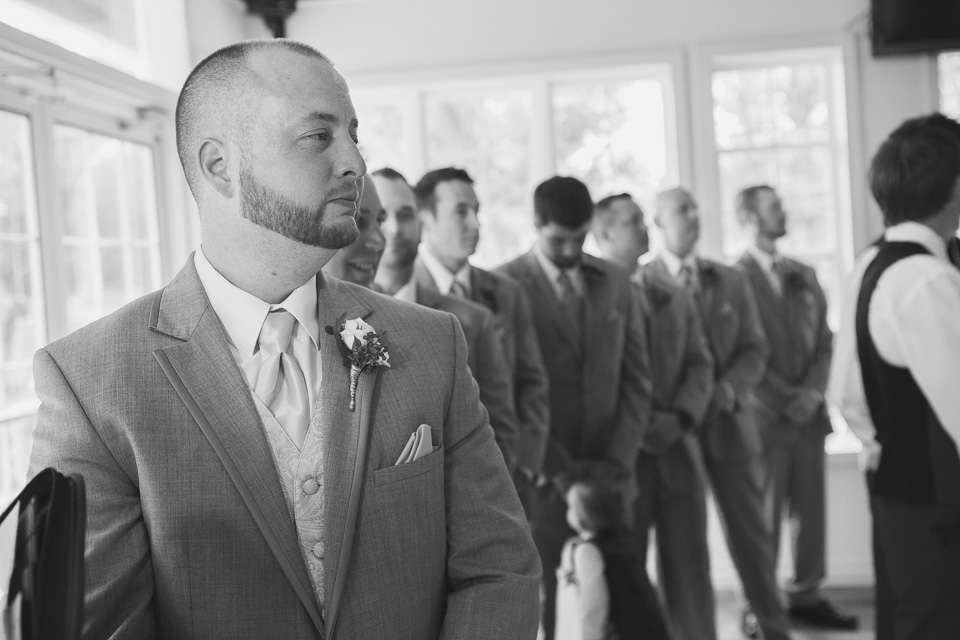 groom's first look in chatham wedding