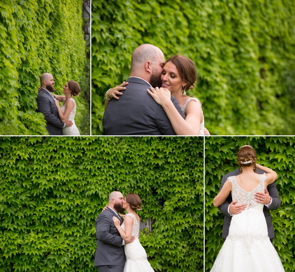 wedding couple in front of vine wall